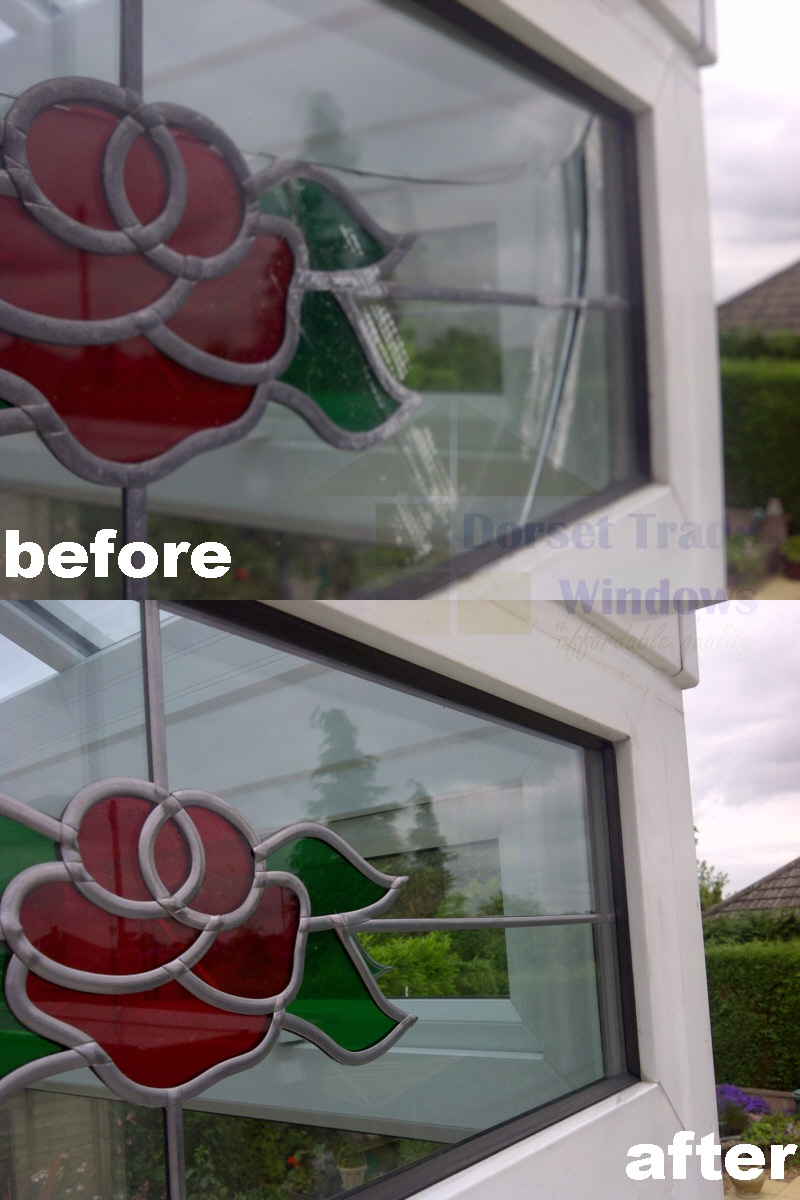 Stained Glass in a conservatory window repair